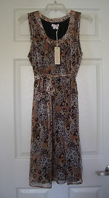 New Large Ingrid Leopard Brown Beige Sleeveless Lined Maternity Dress NWT $99