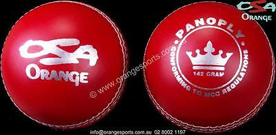 6 x 142g PANOPLY JUNIOR  RED 2pc bat friendly Cricket Balls by ORANGE SPORTS