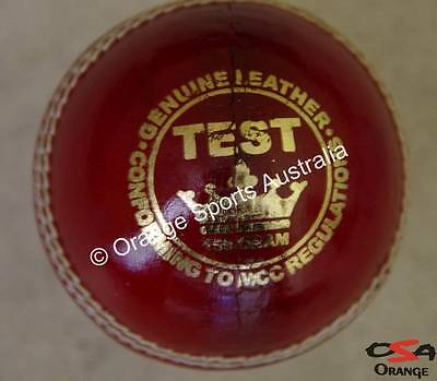 1 X TEST (Wool Centred) RED Hand Sewn BAT FRIENDLY Leather Cricket Ball (4 Pc)