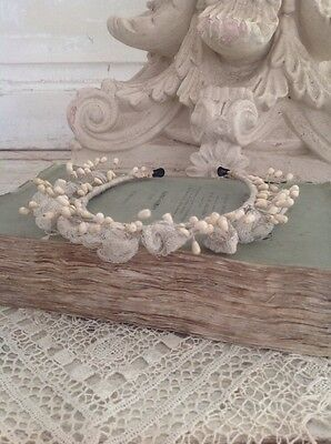 Petite Antique French Wax Bud & Tulle Headband Tiara