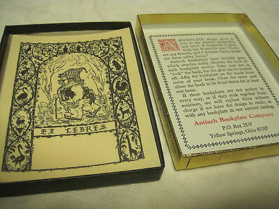 VTG Gummed Antioch Bookplate Company Gnome Ex Libris LOT OF 22 Book Plates IN BX
