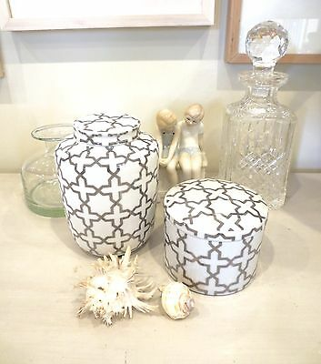 Glossy White and Silver Ceramic Crackled Jar Duo Hamptons Style