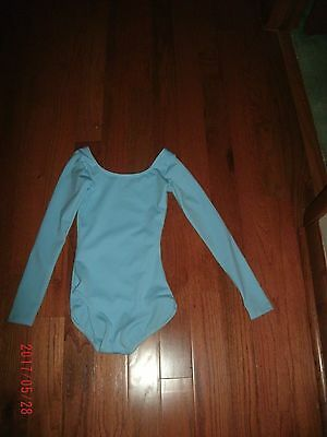 Capezio Dance leotard long sleeved Women's size Small Aqua bodice lined EUC