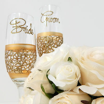Gold Bride and Groom Toasting Flutes Personalised Wedding Glass Set Lace