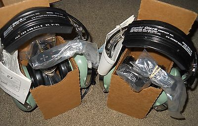 Set of 2 Noise Attenuating Aviation Headsets / Microphones UNUSED in Boxes