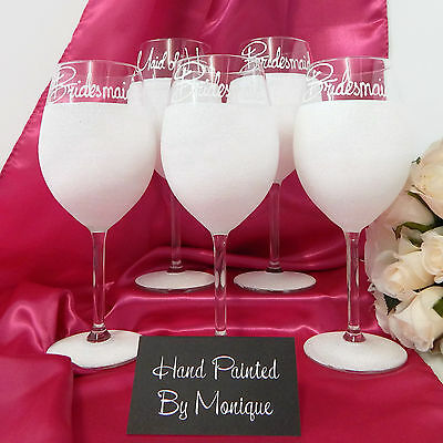 Set of 5 Wedding Glasses For Bridesmaids Gifts Personalised Glitter Glass Rio