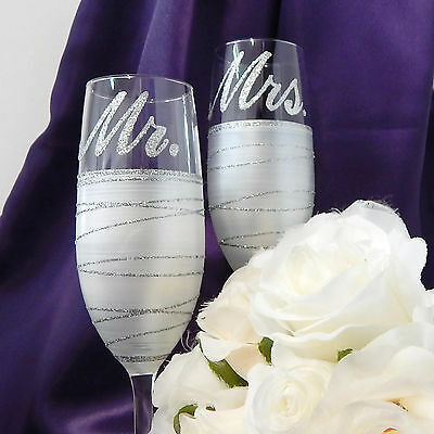 Mr and Mrs Wedding Glasses Pearl White Hand Painted in Australia Design String