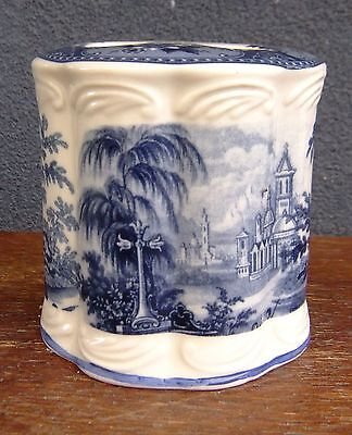 Vintage Style Blue & White Toothbrush Holder (Church Scenes)