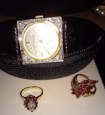 Longines Wittnauer Vintage 14k Solid Yellow Gold and diamond tuxedo watch