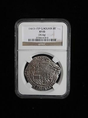 1613 - 1617 P Q Silver Bolivia Peru 8 Reales Cob Coin Ngc Xf45 Extremely Fine