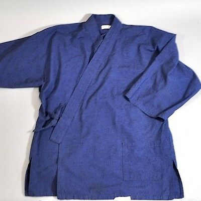 Vintage Tradition Japanese Men Yukata Sleepwear Indigo Blue Long Sleeve
