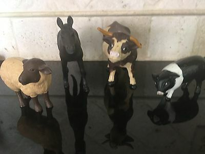 Vintage Large Set Of 4 Toy Farm Animals  Cow, Sheep, Pig & Horse/mule