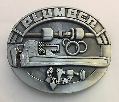 1x Plumber Belt Buckle Metal Alloy Plumbing Leather Tools Jeans Mens Pipe Fitter