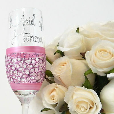 Maid of Honour Champagne Toasting Flutes Wedding Gifts Personalised