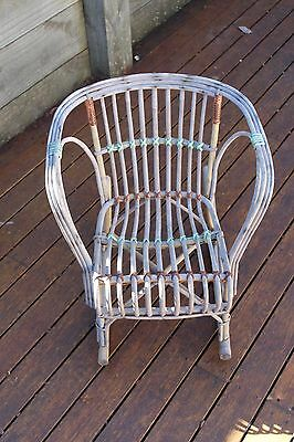 Wicker Cane Childs Vintage Antique Rocking Chair for TV room