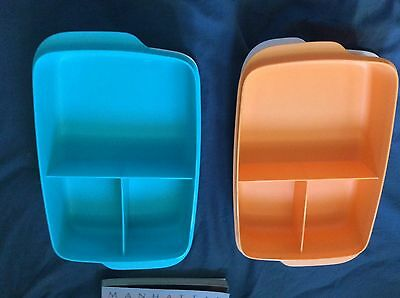 Brand New Tupperware Large Divided Lunch Box - Orange or Blue - COMBINED POST $8