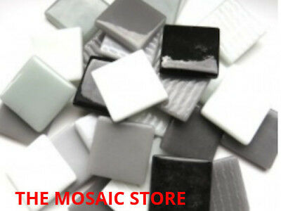 White & Black Mix Gloss Glass Tiles 2.5cm - Mosaic Tiles Supplies Art Craft