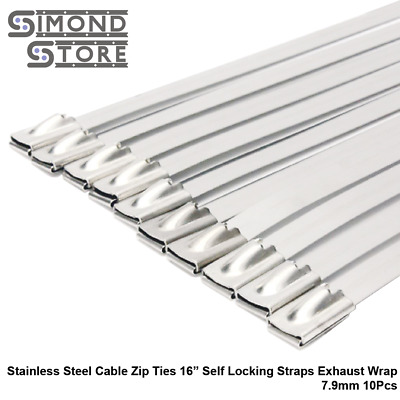 """Stainless Steel Cable Zip Ties 16"""" Self Locking Straps Exhaust Wrap 7.9mm 10Pcs"""