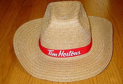 Rare Tim Hortons Cowboy Straw Hat  Employee Promo Adult  Mens Womens Tan NEW!