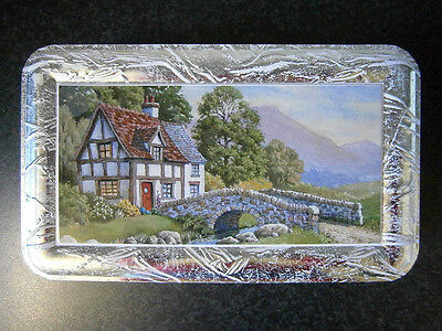 Pretty Vintage English Cottage & Bridge Silver Biscuit Tin