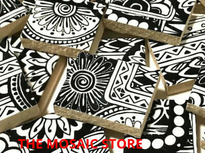 Handmade Tribal Black & White Ceramic Tiles  - Art & Craft Supplies