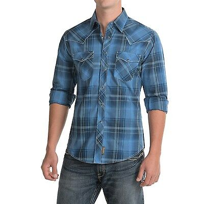 WRANGLER RETRO WESTERN CHECK SHIRT Blue MENS L & XL NEW