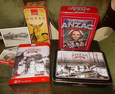 4 Anzac biscuit tins - women in Armed forces 2008 *CRiPPS Tas *2x NEW TiNS 2017.