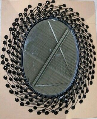 Oval mirror crystal beads metal wall art home decor RRP $229 bevelled edge glass