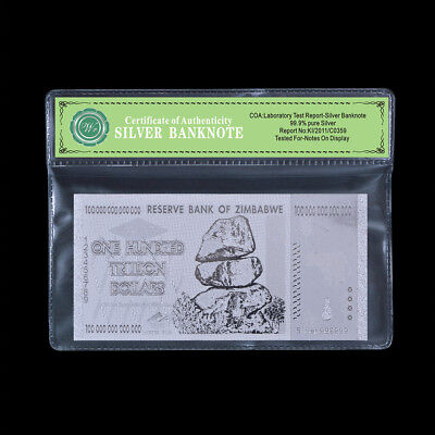 WR Zimbabwe 100 Trillion Dollars Bank Note 999 Silver Banknote Gifts /w COA PACK