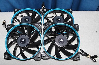 4x Used 120mm Corsair Blue AF120 Air Series Quiet Edition High Airflow Case Fans