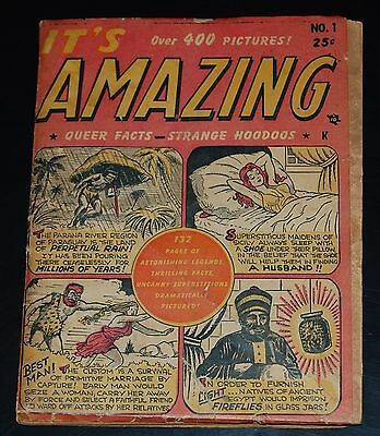 IT'S AMAZING #1 Queer Fact Strange Hoodoos 1949 Golden Age Timely Features Comic