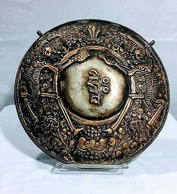 TIBETAN ORACLE SHIELD (Metal); Likely Mid 20th Century