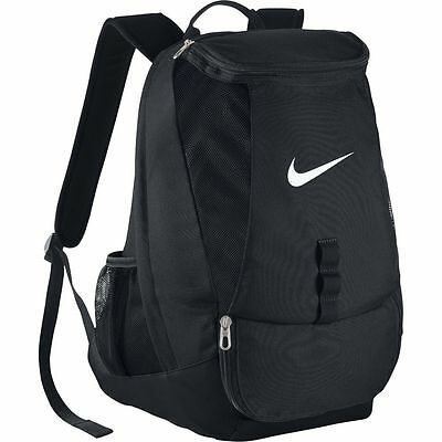 NIKE Black Club Team Swoosh Backpack Rucksack Bag School Gym Football Resistant