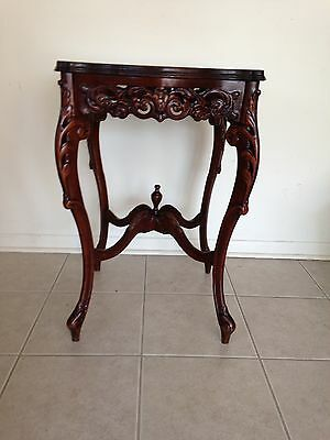 Antique Walnut Carved French Inlaid Side End Table w/ Pierce Carved Apron