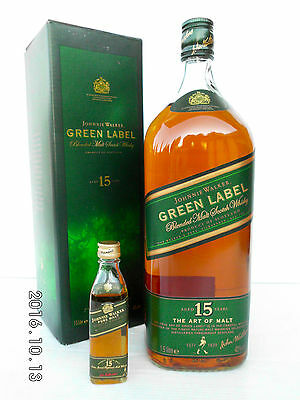 Johnnie Walker Green Label Largest 1.5 Litre & Smallest 50ML - Rare!!!!