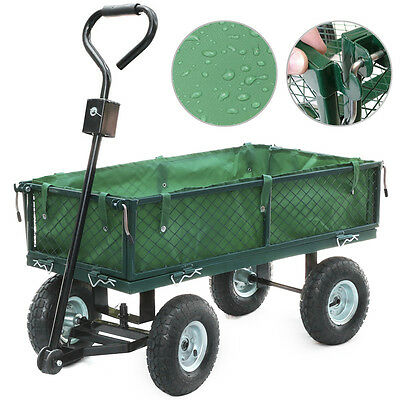 Heavy Duty 400kg Garden Trolley Cart Truck Wheelbarrow Trailer Large 4 Wheels