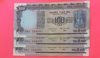 India 100 Rs K.R. PURI Agricultural Issue 3 Sequential AUNC-UNC  Notes