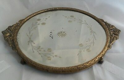 c1880 Ormolu Bronze & Floral Etched Glass mirror Footed Plateau Tray