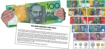 Australian Play Money Large Educational Notes Cards Maths Teacher Demo Resource