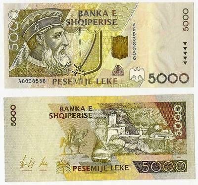 Albania 5000 leke Paper Money, New Banknote of 1996. UNC