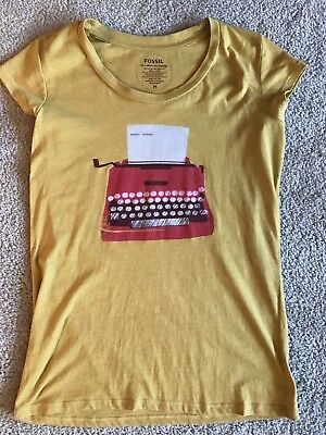 Women's Fossil Shirt Tee Top Mustard Yellow Typewriter Medium Modern Vintage
