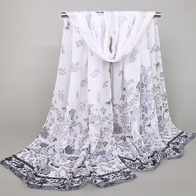 Women Fashion  Long Soft Chiffon Scarf Wrap Shawl Butterfly scarves