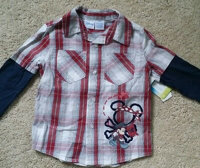 NWT! Mickey Mouse Disney long sleeve button up shirt Baby Boy 24 Months