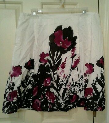 DALIA COLLECTION Skirt Purple Black Floral Lined Woman's Size 12