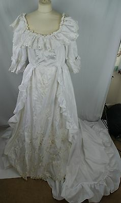 Edwardian Style 1980s Wedding Dress Off Shoulders Puff Sleeves Train Ruffles 12