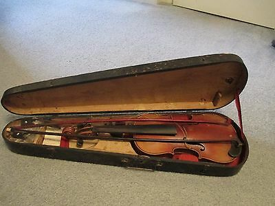 Antique 3/4 size violin with wooden case; German made
