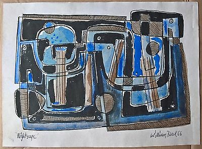 Original modernist watercolour sketch cubist abstract landscape William Black