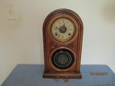 1859  E.ingraham 8 Day Reversed Glass Beehive Style With Alarm Shelf Clock