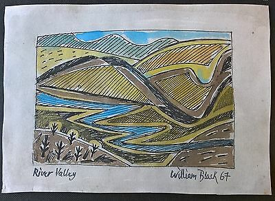 Original modernist watercolour sketch abstract river landscape William Black