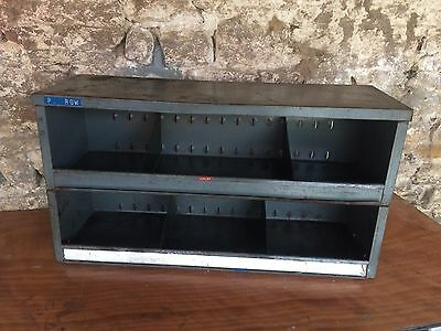 Industrial Shelving / Storage Bins, Ex Army Great Patina Retail Display? Garage?